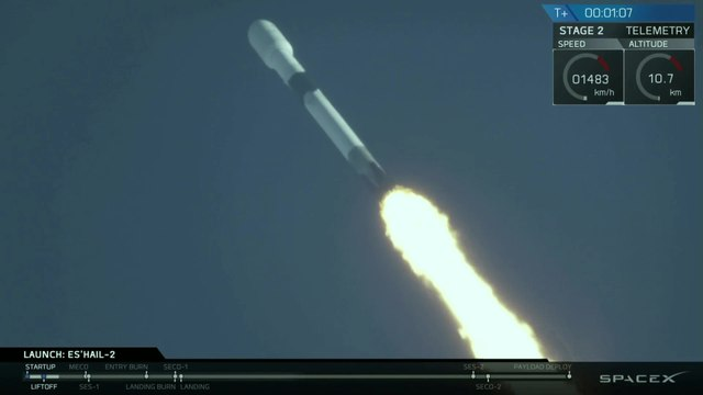 Launch & Landing of SpaceX Falcon 9 with Es'Hail 2