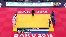 France-Brésil, quart de finale, ChM de judo par équipes mixtes 2018
