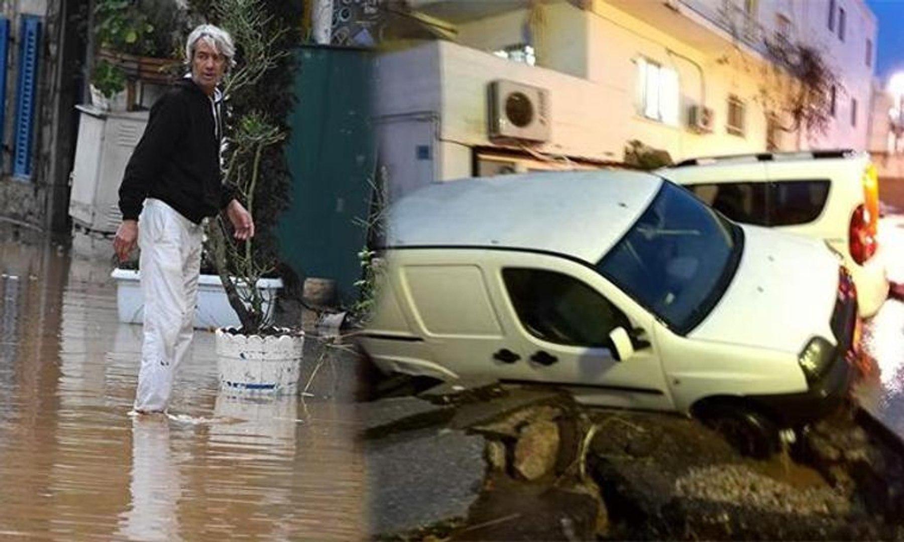 Bodrum'da sel felaketi... Asfaltlar patladı, otomobiller ve motosikletler sular içinde sürüklen