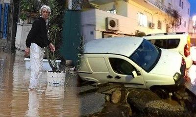 Bodrum'da sel felaketi... Asfaltlar patladı, otomobiller ve motosikletler sular içinde sürüklendi