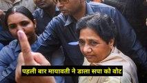 Mayawati casts her vote in Lucknow, पहली बार मायावती ने की साईकिल पे डाला वोट, Election 2019