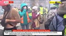 Gilets Jaunes - Les images des barricades, des incendies et des affrontements à 15h sur les Champs Elysées