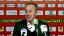 Réaction de Didier Ollé-Nicolle et Jean-Marc Furlan après US Orléans - Stade Brestois 29