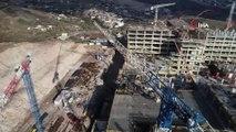 Bayraklı Şehir Hastanesi çalışmaları son sürat devam ediyor...Hastanenin inşaat çalışmaları havadan görüntülendi