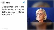 Gilets jaunes. «Les forces de l'ordre ont reçu l'ordre d'être violentes», affirme Marine Le Pen.