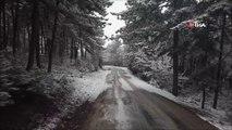 Bilecik beyaza büründü...Karla kaplı Bozüyük havadan görüntülendi