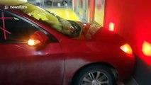 Bizarre 'prayer car' left in Russian parking lot