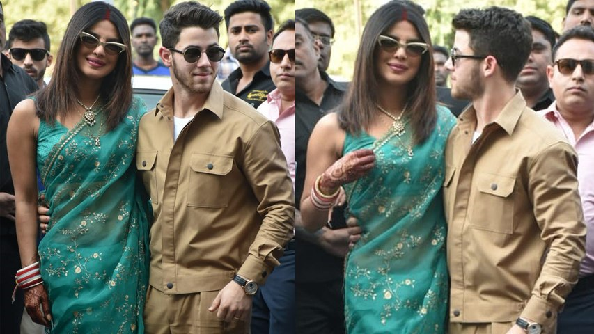 Priyanka Chopra spotted in Green saree and sindoor with Nick Jonas at Jodhpur airport; Watch Boldsky