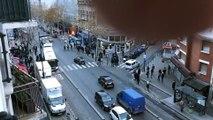 Gilets jaunes : Blocage d'un lycée à Aubervilliers en Seine-saint-Denis - L'entrée du bâtiment incendiée