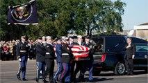 Honor guard, cannon as former President Bush begins last trip to Washington
