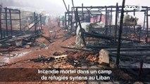 Liban: deux morts dans l'incendie d'un camp de réfugiés syriens