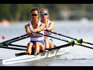 Charlotte Hodgkins Byrne & Anna Thornton discuss their win in the women's double sculls heats