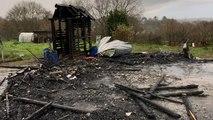 Abris de jardins incendiés