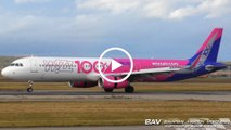 """Airbus A321 - Wizz Air """"100th Airbus - Livery"""" HA-LTD - landing and taxiing at Allgäu Airport [2160p25]"""