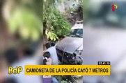 Huanta: camioneta de la policía cae encima de una vivienda y deja heridos a dos jóvenes