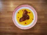 Velouté de potimarron au lait de coco et foie gras poêlé