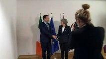Theresa May meets Irish PM Leo Varadkar in Brussels