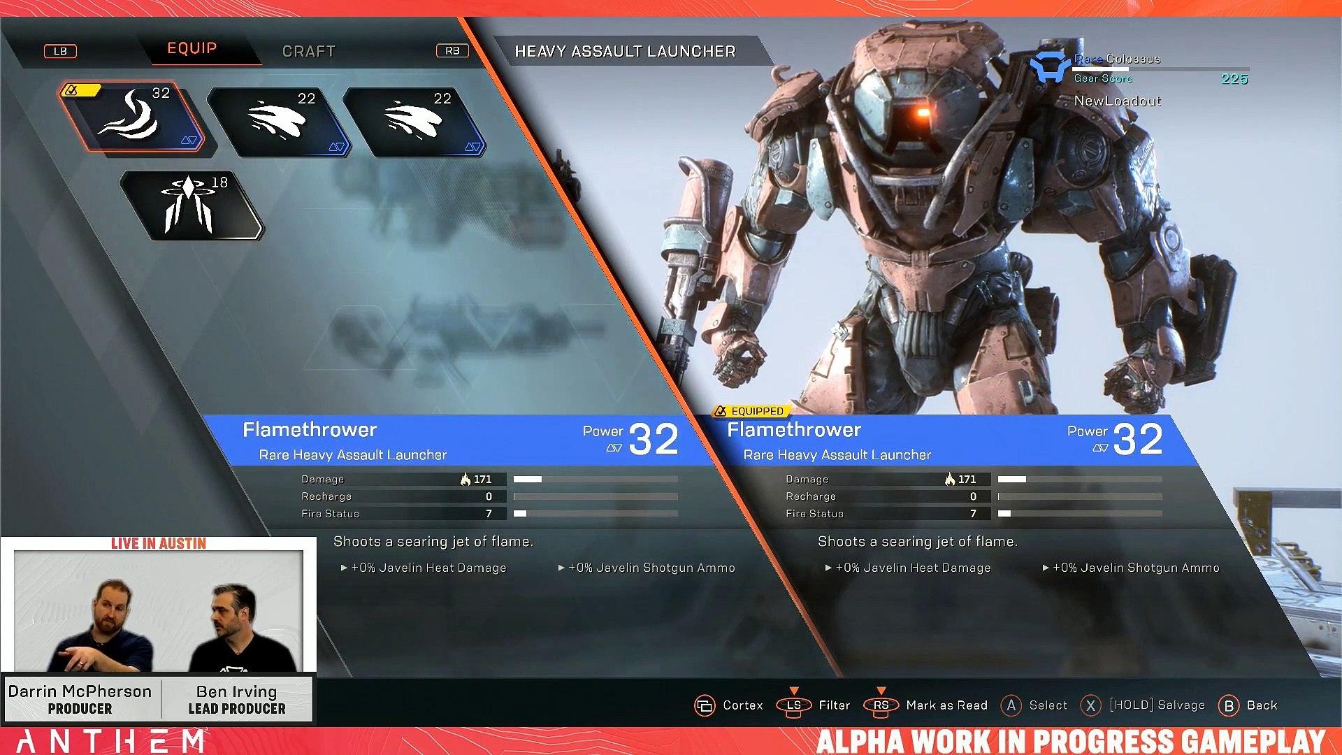 Anthem: Gear and Progression Gameplay - Anthem Developer Livestream from December 13