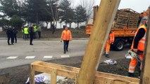 Le démantèlement du camp des Gilets jaunes au rond-point de Chomette