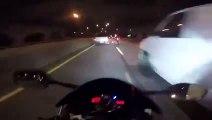 Course-poursuite incroyable entre une moto S1000RR, une audi R8 et une yamaha R6