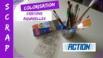 """Scrap - Colorisation aux crayons aquarelles de chez Action """"Tuto"""""""