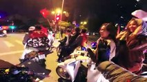 Motorcycles celebrate for Viet Nam winning Affcup with cute girls - Motovlog