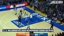 Zion Williamson Hits Head On Backboard During Big Block vs. Princeton