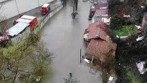 Sarıyer'de dere taştı, sular altında kalan mahalle havadan görüntülendi