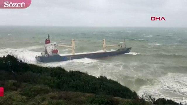 Şile'de gemi karaya oturdu! 16 mürettebat mahsur kaldı!