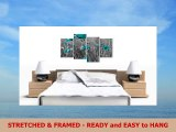 Extra Large Teal Flowers Floral Canvas Wall Art Prints Pictures 4139