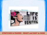 Wallfillers Life is Beautiful Banksy Graffiti Street Art Black White Pink Canvas Print