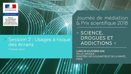 6Journée de médiation et Prix scientifique MILDECA « Science, Drogues et Addictions », 26 novembre 2018. Session 2 « Usages à risque des écrans » - Orateur, Thomas Gaon
