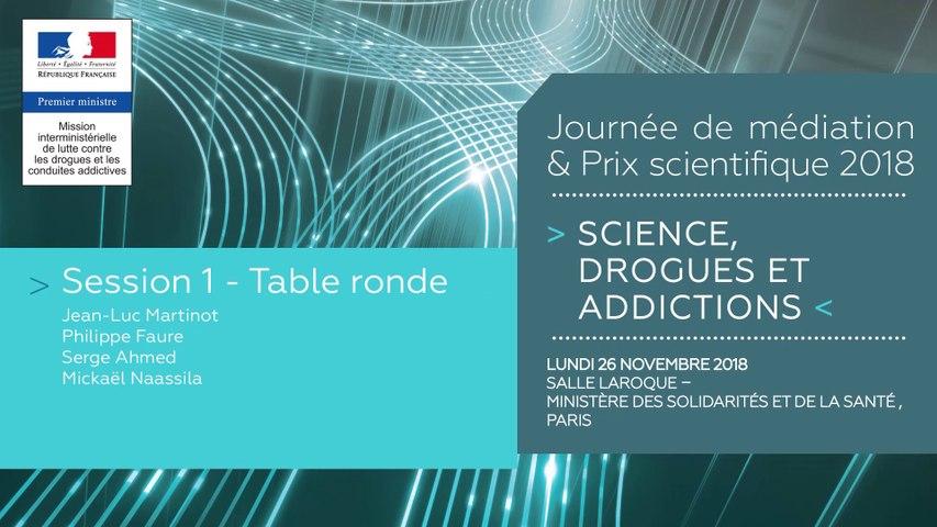 5Journée de médiation et Prix scientifique MILDECA « Science, Drogues et Addictions », 26 novembre 2018. Session 1 « Apport des neurosciences pour la prévention et le soin des addictions ». Table ronde: J.L Martinot, P. Faure, S. Ahmed, M. Naassila