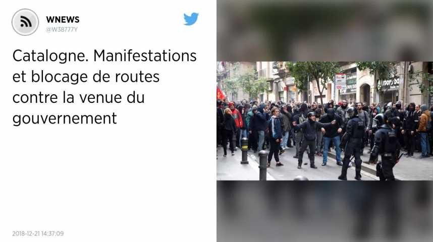 Catalogne. Manifestations et blocage de routes contre la venue du gouvernement.