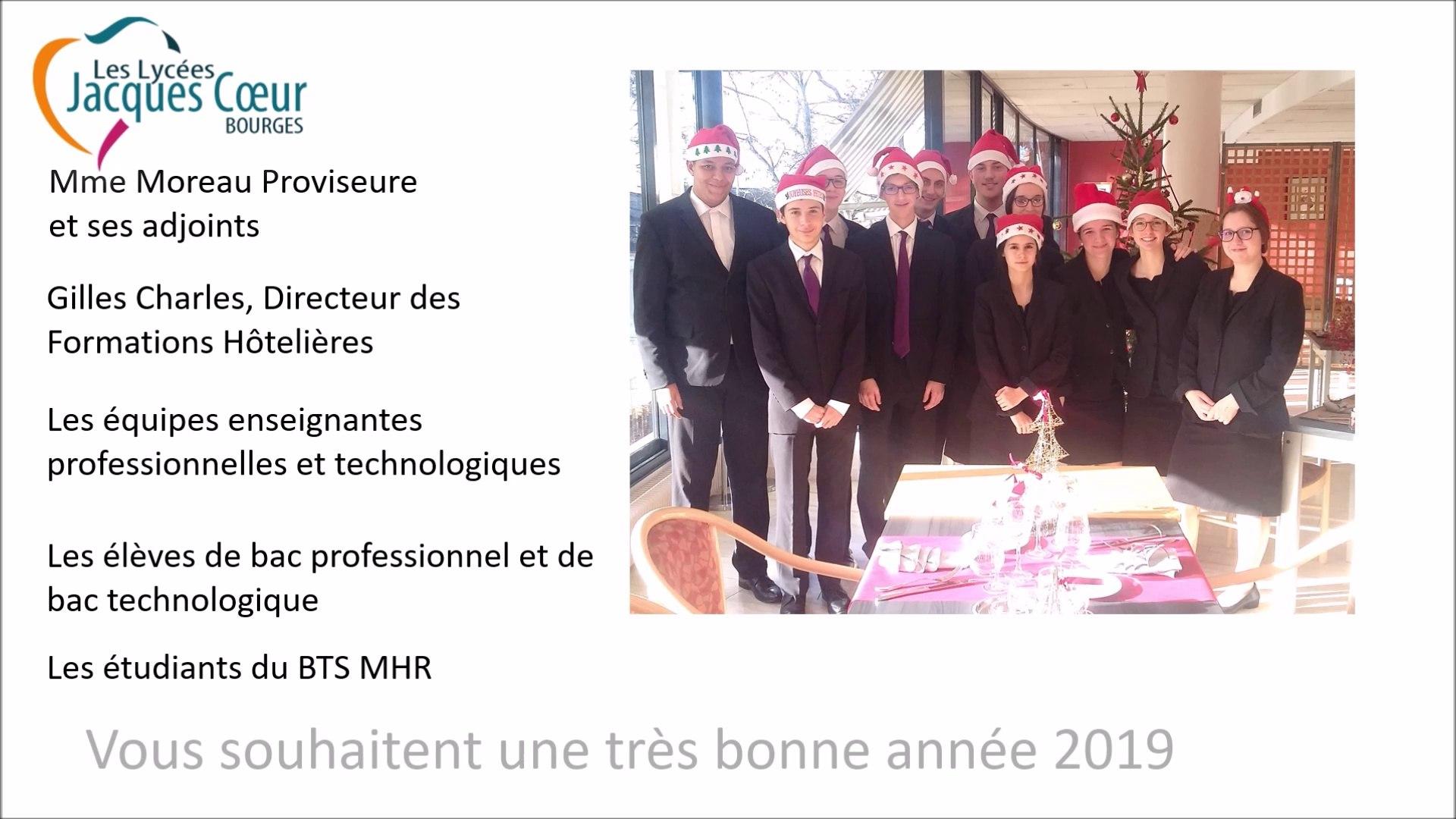 Vœux 2019 Hôtellerie Lycée Jacques Cœur Bourges