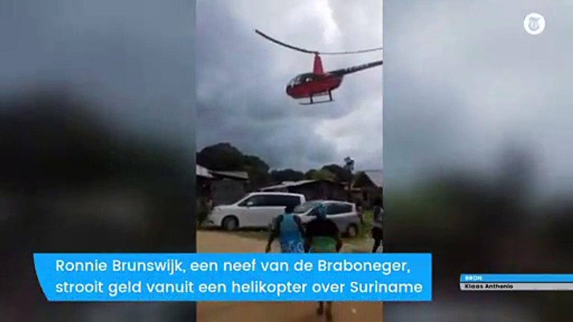 Surinaamse politicus strooit met geld uit helikopter