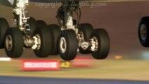 Atterrissage des roues d'un avion A380 filmé au ralenti !