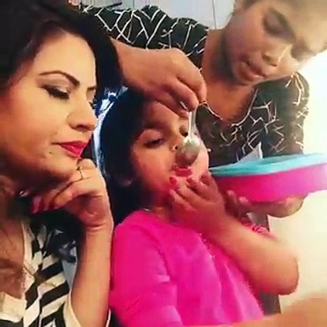 Sreesanth's daughter Sanvika with#BigBoss12 contestant Megha Dhade