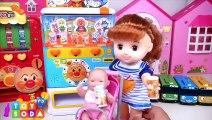 Baby Doll Anpanman Vending Machine Pororo Gas Station Toy Soda