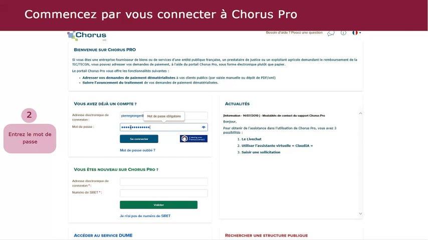 Tutoriel Chorus Pro V2 - Saisir une facture simple