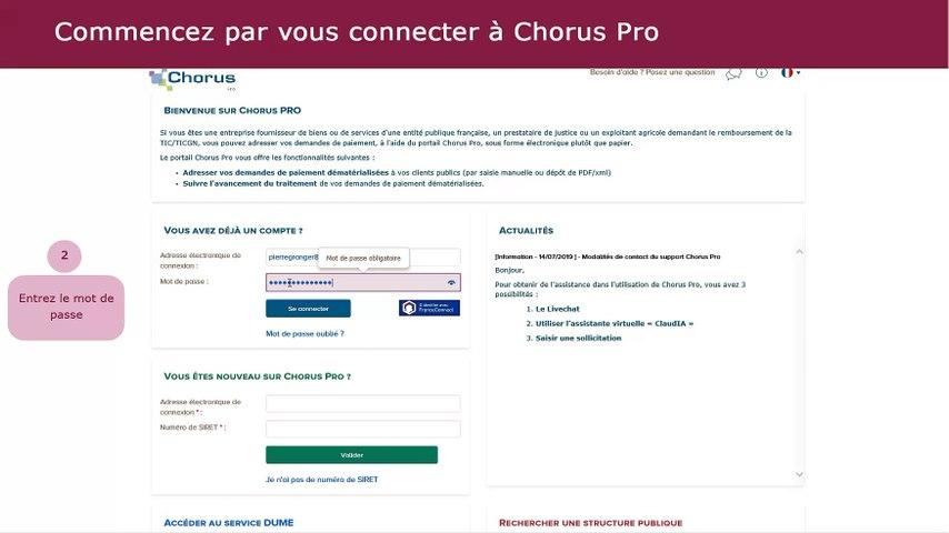 Tutoriel Chorus Pro V2 - Effectuer le suivi d'une facture simple