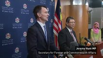 Hunt talks foreign policies with Malaysian Foreign Minister