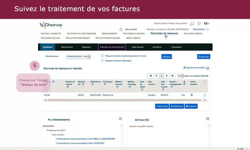 Tutoriel Chorus Pro V2 - Effectuer le suivi des factures de travaux