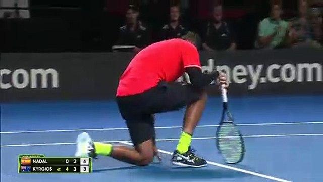 Nick Kyrgios beats Rafael Nadal in Fast4 exhibition game in Sydney