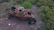 épaves de chars vues de drone