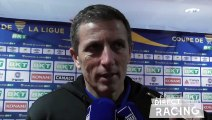 Réaction de Thierry Laurey en zone mixte suite à la victoire du RCSA en Quart de finale de Coupe de la ligue