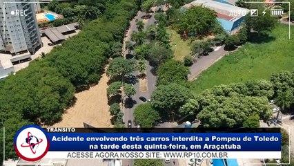 Acidente com três veículos interdita pista da Av. Pompeu de Toledo em Araçatuba (SP)