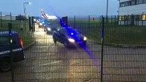 La ministre des Armées, Florence Parly, arrive à l'aéroport Lorraine Airport