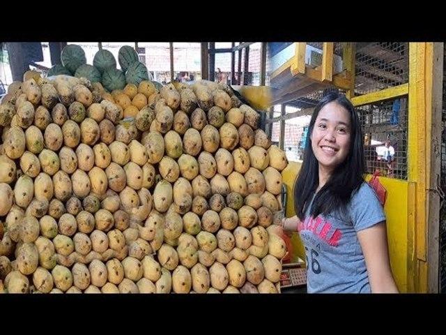 Selling & Peeling Mango Fruit On Local Market Philippines