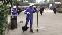 Sweep and roll! Chinese cleanerspractice sweeping on roller skaters